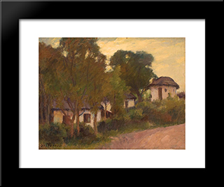 Houses On The Hill: Modern Black Framed Art Print by Stefan Popescu