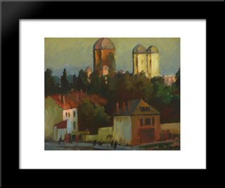 Landscape From Campulung: Modern Black Framed Art Print by Stefan Popescu