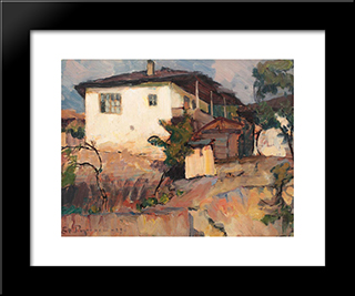Landscape With Houses: Modern Black Framed Art Print by Stefan Popescu
