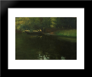 On The River Shore: Modern Black Framed Art Print by Stefan Popescu