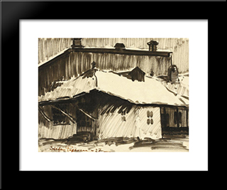 Roofs Under Snow: Modern Black Framed Art Print by Stefan Popescu