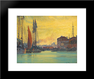 Sunset Over Chioggia: Modern Black Framed Art Print by Stefan Popescu