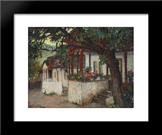Veranda With Flowers: Modern Black Framed Art Print by Stefan Popescu