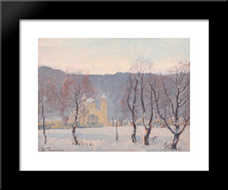 Winter Landscape: Modern Black Framed Art Print by Stefan Popescu