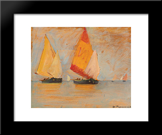 Yawls In The Lagoon: Modern Black Framed Art Print by Stefan Popescu