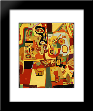 Man Menacing Woman: Modern Black Framed Art Print by Steve Wheeler