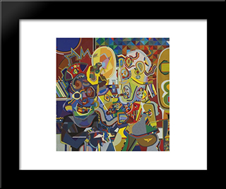 Untitled W22 (Man Looking At Pork Chop): Modern Black Framed Art Print by Steve Wheeler