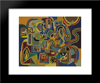 Young Man Talking To His Mother - In - Law: Modern Black Framed Art Print by Steve Wheeler