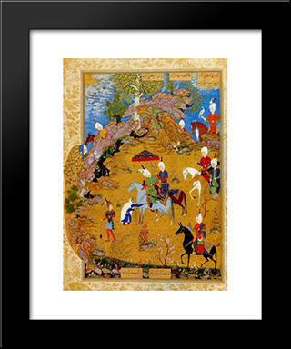 From The Khamsa Of Nizami The Old Woman Complaining To Sultan Sanjar: Modern Black Framed Art Print by Sultan Muhammad