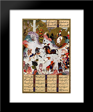 Tahmuras Defeats The Divs. Miniature From Shahname: Modern Black Framed Art Print by Sultan Muhammad