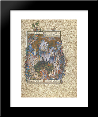 The Court Of Gayumars: Modern Black Framed Art Print by Sultan Muhammad