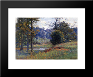 Along The Creek: Modern Black Framed Art Print by T. C. Steele