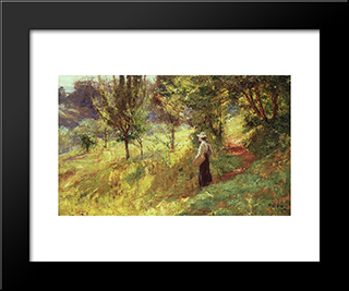 Berry Picker: Modern Black Framed Art Print by T. C. Steele