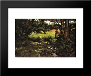 Brook In Woods: Modern Black Framed Art Print by T. C. Steele
