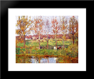Cows By The Stream: Modern Black Framed Art Print by T. C. Steele