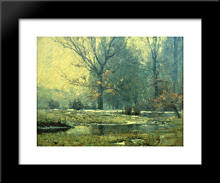 Creek In Winter: Modern Black Framed Art Print by T. C. Steele