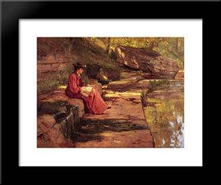 Daisy By The River: Modern Black Framed Art Print by T. C. Steele