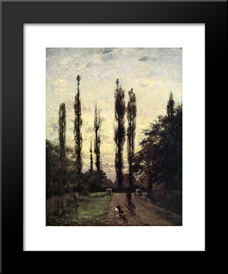 Evening, Poplars: Modern Black Framed Art Print by T. C. Steele