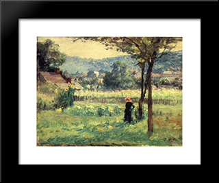 Flower Garden At Brookville: Modern Black Framed Art Print by T. C. Steele