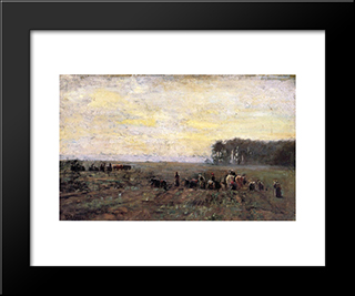Haying Scene: Modern Black Framed Art Print by T. C. Steele