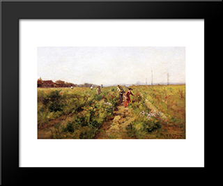 In The Berry Field: Modern Black Framed Art Print by T. C. Steele