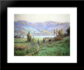 In The Whitewater Valley Near Metamora: Modern Black Framed Art Print by T. C. Steele