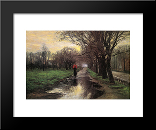 Meridian Street, Thawing Weather: Modern Black Framed Art Print by T. C. Steele