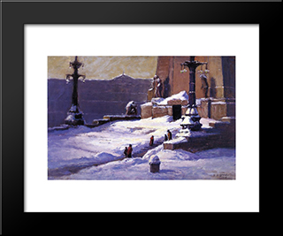 Monument In The Snow: Modern Black Framed Art Print by T. C. Steele