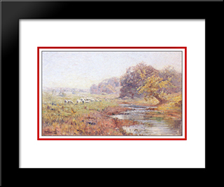 Morning. The Sheep: Modern Black Framed Art Print by T. C. Steele