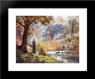Morning By The Stream: Modern Black Framed Art Print by T. C. Steele