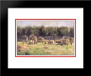Munich Haying: Modern Black Framed Art Print by T. C. Steele