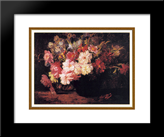 Peonies And Irises: Modern Black Framed Art Print by T. C. Steele