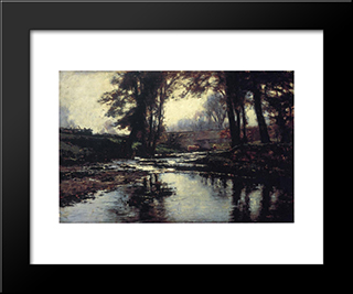 Pleasant Run: Modern Black Framed Art Print by T. C. Steele