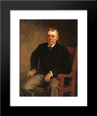Portrait Of James Whitcomb Riley: Modern Black Framed Art Print by T. C. Steele