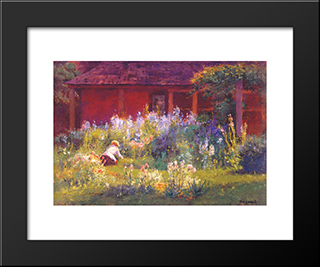 Selma In The Garden: Modern Black Framed Art Print by T. C. Steele
