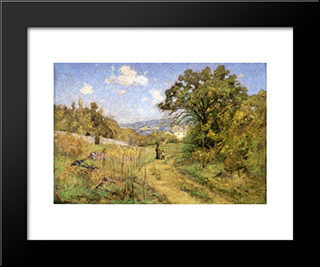 September: Modern Black Framed Art Print by T. C. Steele