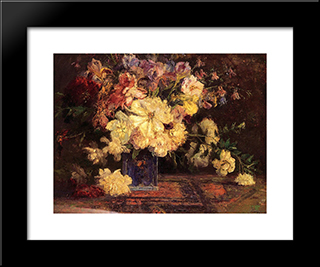 Still Life With Peonies: Modern Black Framed Art Print by T. C. Steele
