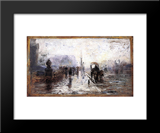 Street Scene With Carriage: Modern Black Framed Art Print by T. C. Steele
