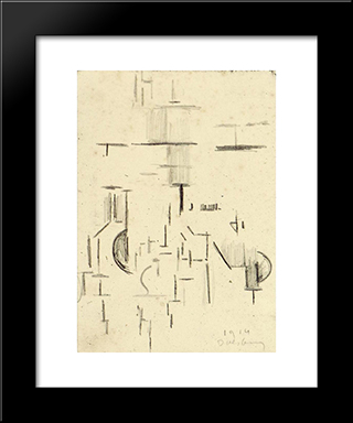 Abstract Church: Modern Black Framed Art Print by Theo van Doesburg