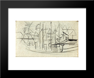 Abstracted Cityscape From Sketchbook 130: Modern Black Framed Art Print by Theo van Doesburg