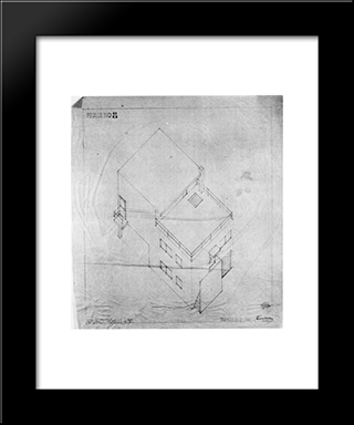 Axonometric Drawing Of The House In Meudon: Modern Black Framed Art Print by Theo van Doesburg