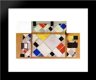 Color Design For Walls And Ceiling Of The Cine Dancing In The Aubette: Modern Black Framed Art Print by Theo van Doesburg