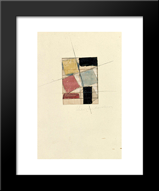 Composition (Study): Modern Black Framed Art Print by Theo van Doesburg