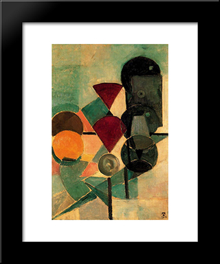 Composition Ii (Still Life): Modern Black Framed Art Print by Theo van Doesburg