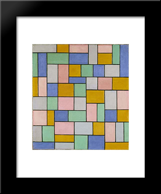 Composition In Dissonances: Modern Black Framed Art Print by Theo van Doesburg