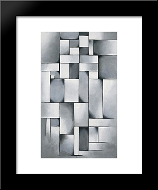 Composition In Gray (Rag Time): Modern Black Framed Art Print by Theo van Doesburg