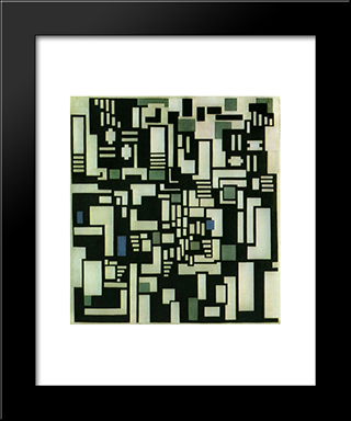 Composition Ix, Opus 18, 1917: Modern Black Framed Art Print by Theo van Doesburg
