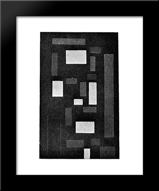 Composition Vi (On Black Fond): Modern Black Framed Art Print by Theo van Doesburg