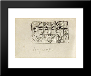 Composition With Three Heads (From Sketchbook 13): Modern Black Framed Art Print by Theo van Doesburg