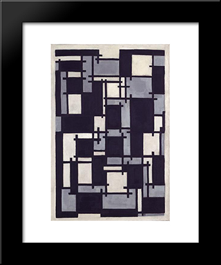 Composition X: Modern Black Framed Art Print by Theo van Doesburg